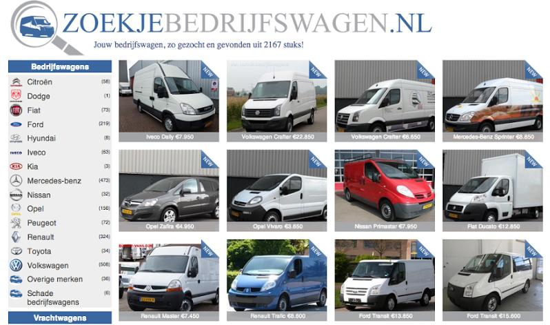 Zoekjebedrijfswagen.nl biedt actueel en betrouwbaar overzicht beschikbare bedrijfswagens